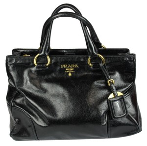 Prada Vitello Leather Goods Tote in Black