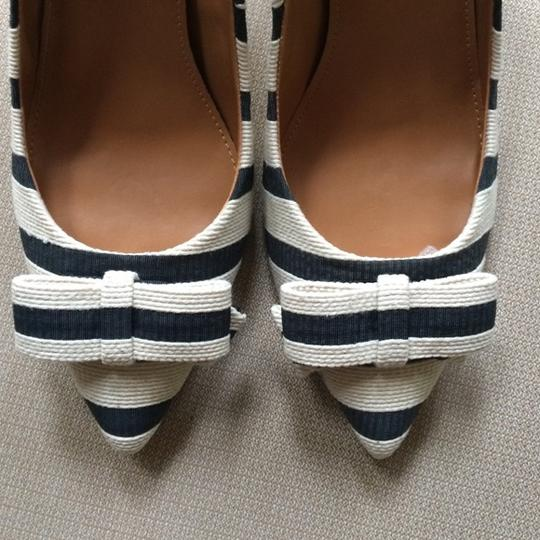 J.Crew Isabelle Bow Striped Pinstripe Navy Ivory Pumps
