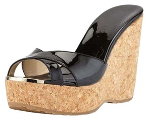 Jimmy Choo Perfume Wedge Cork Black Wedges