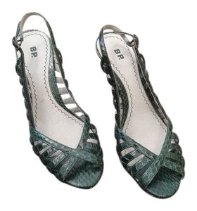 Nordstrom Leather Rubber Sole Strappy Green Sandals