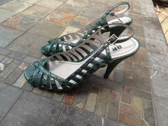 "Nordstrom Leather Rubber Sole Strappy 4"" Sexy Green Sandals"