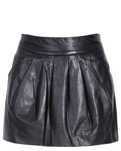 Diane von Furstenberg Leather Mini Pleated Skirt Black