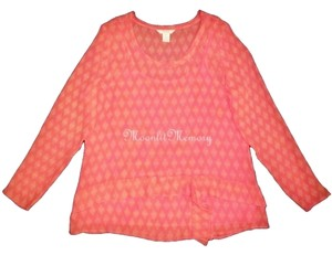 Sundance Silk Chiffon Top Coral Orange
