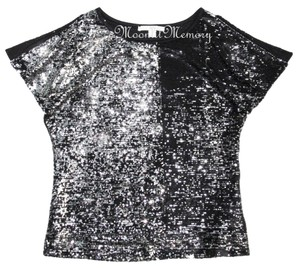 Boston Proper Sequin Silver Top Silver, Black