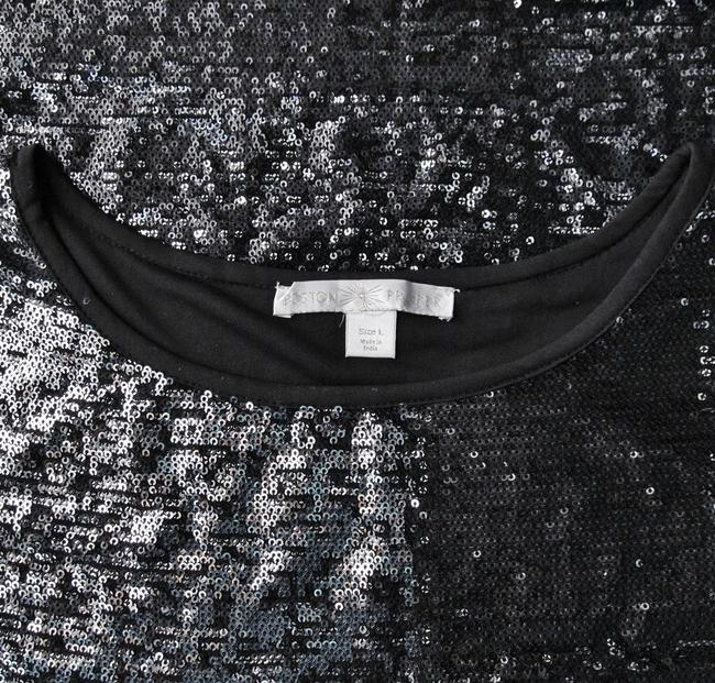 Boston Proper Sequin New Without Tags Top Silver, Black
