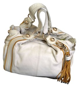 7 For All Mankind Leather Tassel Suede Roomy Chic Satchel in white