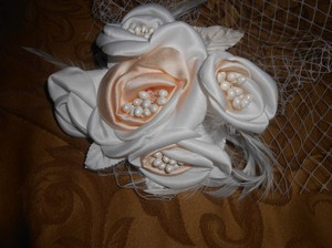 Champagne/White Birdcage New Face with Feather Bridal Veil