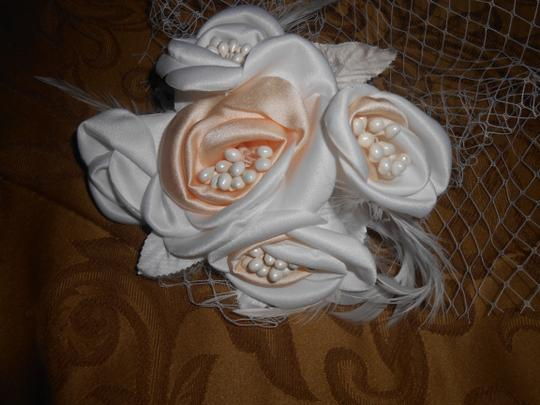 Champagne/White Birdcage New Face with Feather Bridal Veils