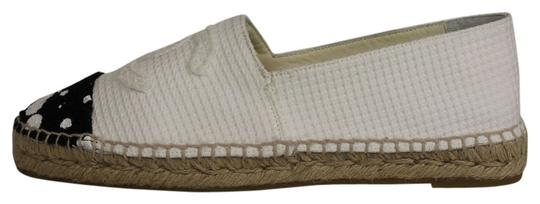 Chanel Tweed Polka Dot Espadrilles white and black Flats