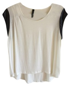 Nasty Gal Faux Leather T Shirt White