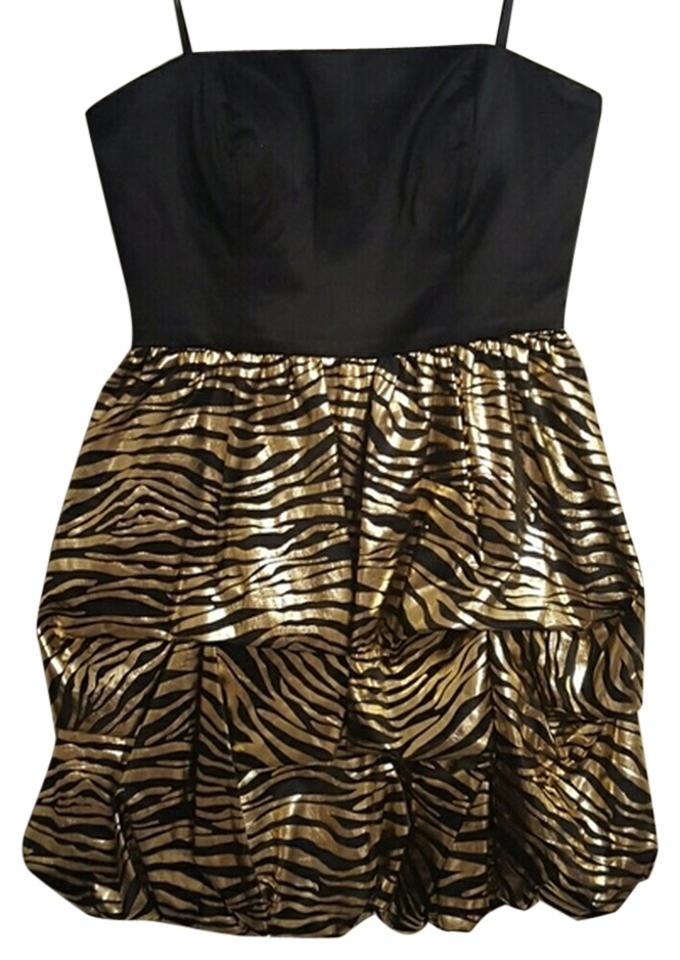 Charlotte Russe Black And Gold Sassy Shiny Strapless Only Worn Once