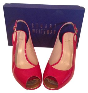 Stuart Weitzman Wedge Peep Toe Red Patent Leather Wedges