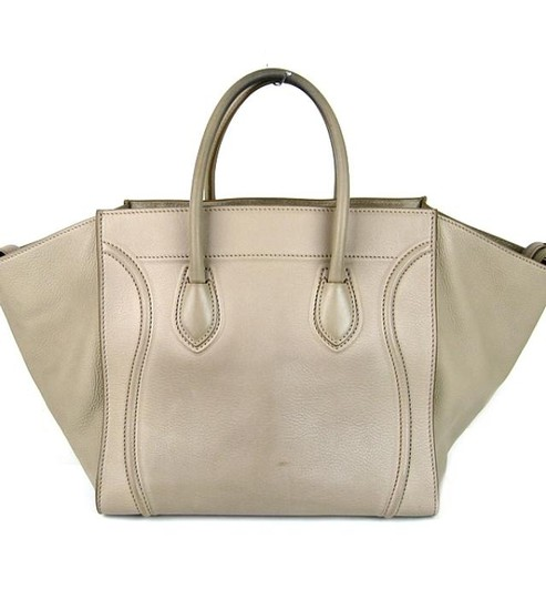 Céline Phantom Leather Purse Tote in Grey Gray