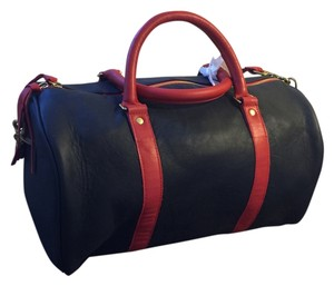 Clare V. Leather Classic Chic French British Made In Usa Navy Amalfi with Red Body Straps and Red Amalfi Handles Travel Bag