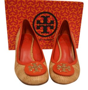 Tory Burch Straw Sally Raffia Natural Tory Red Wedges