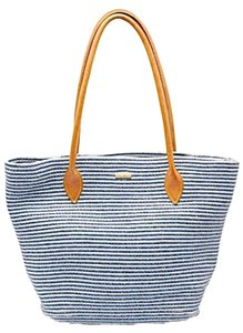 Eric Javits Woven Tote in Blue & White