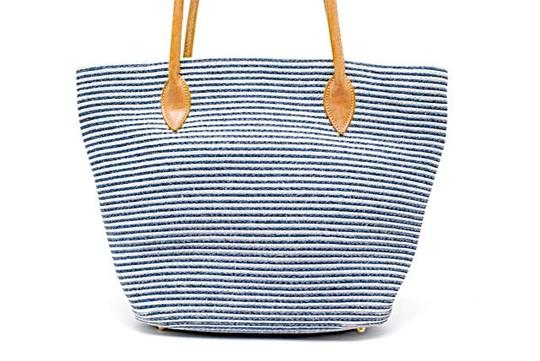 Eric Javits Woven Shoulder Tote in Blue & White