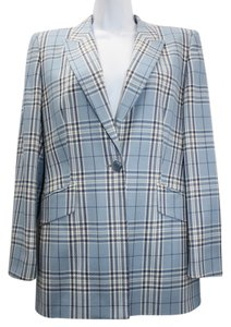 Escada Margaretha Ley Blue Plaid Wool Blazer