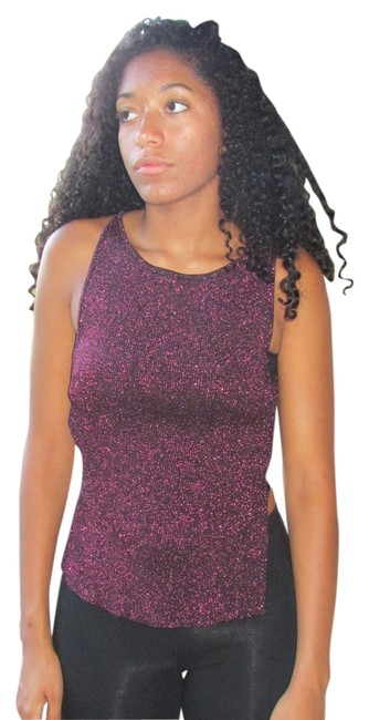 bebe Metallic Pink/black Backless Top fuschia/metallic black