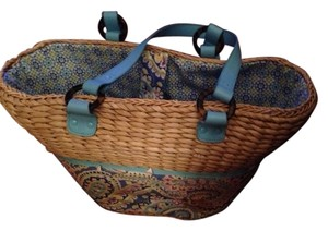 Vera Bradley straw and blue pattern Beach Bag