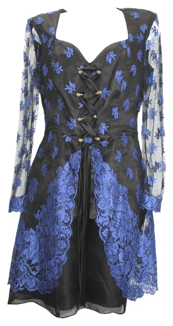 Item - Blue and Black Lace Party Knee Length Formal Dress Size 6 (S)