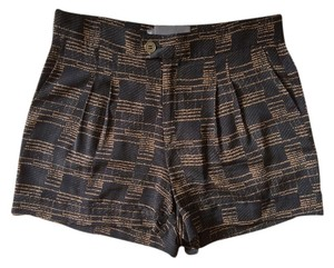 Myne Silk Dress Shorts Black and Brown