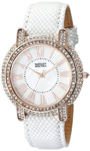 Badgley Mischka Badgley Mischka Women White Leather Rosegold Swarovski Crystal Watch BA/1354WMWT