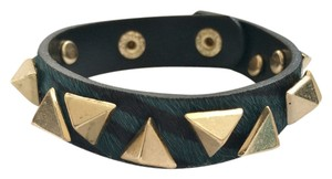***Clearance Final Reduction*** * Pony Hair Leather Bracelet with Zebra Print and Gold Studs