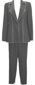 Escada ESCADA ZIP EDGES BLACK STRETCH WOOL BLEND PANT SUIT 34