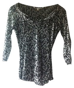 Diane von Furstenberg Evening Silk Party Print Top Black & White