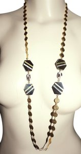 Other One of a Kind Indie Boho Inlaid Pearl Horn Art Glass Necklace by ImmI