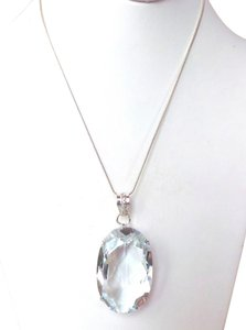 HUGE White Topaz Sterling Silver Pendant Necklace
