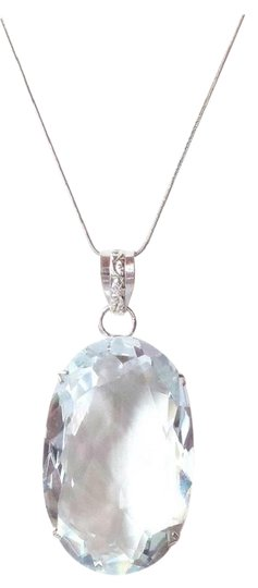 Other HUGE White Topaz Sterling Silver Pendant Necklace