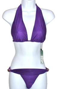 DESPI NWT Despi Sapphire women's S/P beaded jeweled Purple bikini set 2 Top 1 Bottom