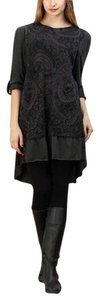 Reborn Collection short dress Charcoal Paisley Hi Lo Roll-tab Sleeves on Tradesy