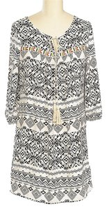 Brandon & Ashley short dress Black & White Tribal Boho Tie Open on Tradesy