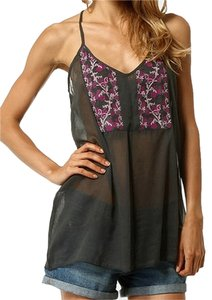 Mahal Moda Sheer Boho Floral Racer-back Top Gray