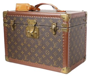 Louis Vuitton Trunk Train Case Luggage Beauty Case Cosmetic Case Brown Travel Bag