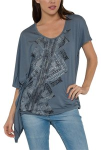 Morning Apple Free Spirit Boho Asymmetrical T Shirt charcoal