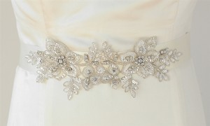Mariell Breathtaking Handmade Bridal Sash With European Crystal Beaded Applique 4193sh-i