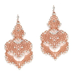 Mariell Rose Gold Top Selling Filigree Statement For Or Prom 4120e-rg Earrings