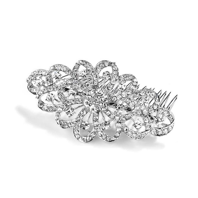 Item - Silver Dazzling Crystal Swirls Or Prom Comb 4026hc Hair Accessory