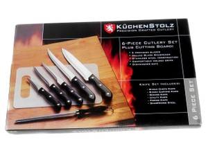 Kuchenstolz Precision Crafted 6 Piece Knife Knives Cutlery Set Cutting Board