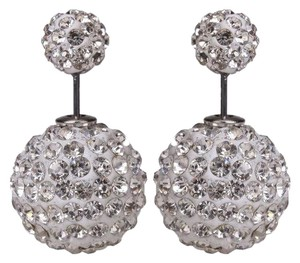 Rhinestones Double Sided Pearl Stud Earrings