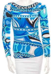 Emilio Pucci Multicolor Print V-neck Longsleeve Top Blue