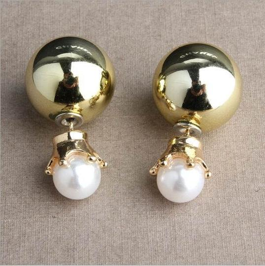 Other Pearl Crown Double Sided Gold Stud Earrings