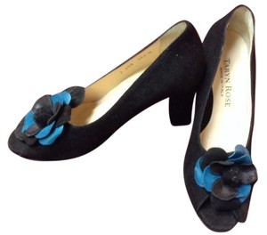 Taryn Rose Vintage Suede Leather Black/Blue Pumps