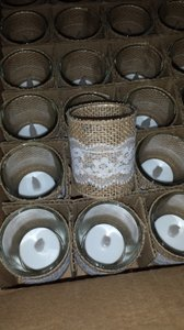 Burlap & Lace Votives_rustic Chic -24 Candles With Led Battery Amber Tealights