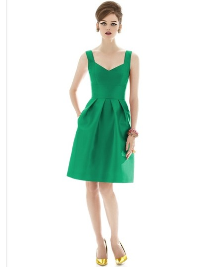 Alfred Sung Pantone Emerald Sateen Twill D658 Formal Bridesmaid/Mob Dress Size 8 (M)