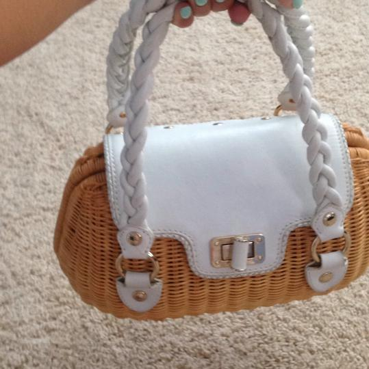 Elliott Lucca Basket Leather Braided Leather Handbag Spring Summer Satchel in White